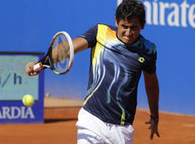 Spanish tennis player Nicolas Almagro. In action during a match of Barcelona tennis tournament Conde de Godo on April 23, 2014 in Barcelona stock photo