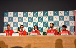 Spanish tennis players during a Davis Cup press conference Royalty Free Stock Images