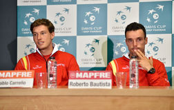 Spanish tennis players during a Davis Cup press conference Stock Photos