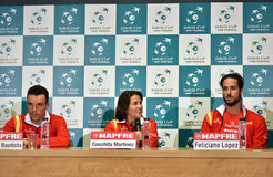 Spanish tennis players during a Davis Cup press conference Royalty Free Stock Photo