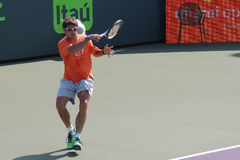 Spanish Tennis Professional Tommy Robredo. Tommy Robredo of Spain hitting a forehand during the Miami Open in Key Biscayne, Florida Stock Images