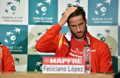 Spanish tennisman answering questions during a press conference Royalty Free Stock Photos