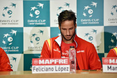 Spanish tennisman answering questions during a press conference Stock Image