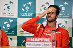 Spanish tennisman answering questions during a press conference Stock Photos