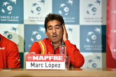 Spanish tennisman answering questions during a press conference Royalty Free Stock Photo