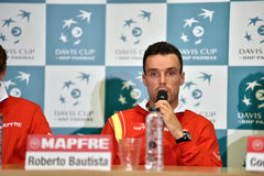 Spanish tennisman answering questions during a press conference Royalty Free Stock Image
