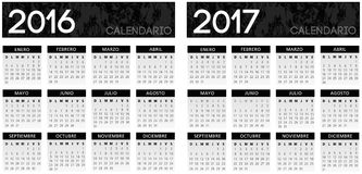 Spanish textured black calendar vector. Year 2016 2017 royalty free illustration