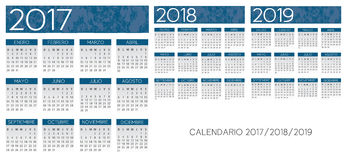 Spanish textured blue calendar vector. Spanish textured bluecalendar vector year 2017-2018-2019 Vector Illustration