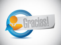 Spanish thanks avatar sign illustration Stock Images