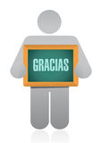 Spanish thanks message avatar sign Royalty Free Stock Image