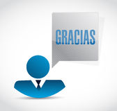 Spanish thanks message avatar sign Stock Image