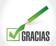 Spanish thanks message check sign Stock Images