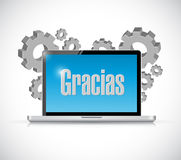 Spanish thanks message on a computer illustration Stock Photo