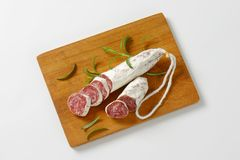 Fuet - Catalan dry cured sausage Royalty Free Stock Images