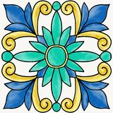 Spanish tile. With flourish pattern in traditional style vector illustration