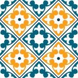 Spanish tile pattern, Portuguese or Moroccan tiles design, seamless in dark green and orange - Azulejo Stock Photo