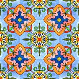 Spanish tile seamless pattern. Watercolor painting. Tiled print for wrapping, background or ceramic stock illustration