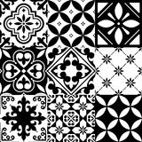 Spanish tiles, Moroccan tiles design, seamless black pattern Royalty Free Stock Image