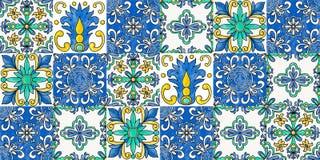 Spanish tiles. Seamless flourish pattern in traditional style stock illustration