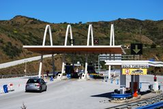 Spanish toll plaza, Andalusia, Spain. Royalty Free Stock Images