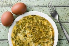 Spanish tortilla de esparragos, asparagus omelet Stock Photo