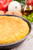 Spanish tortilla (omelette) in the frying pan Royalty Free Stock Photo