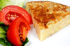 Spanish tortilla with salad. Stock Photography