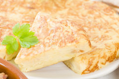 Spanish Tortilla. Traditional Spanish omelette made with potatoes and fried in olive oil Stock Photo