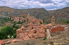 The spanish town of Albarracin. A view from above of the Spanish town of Albarracin. The town is surrounded by the Sierra de Albarracín mountains Royalty Free Stock Image