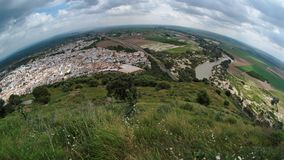 Spanish town Almodovar del Rio fisheye view Royalty Free Stock Photos