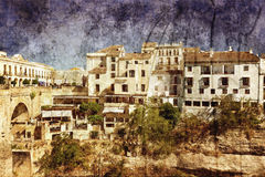 Spanish town in grunge and retro Stock Images