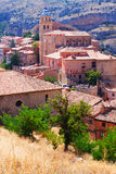 Spanish town from mount. Albarracin Stock Images