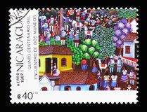 Spanish Town, odkrycie Ameryka, 500th Rocznicowy seria, cir obrazy stock