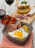Spanish traditional dish fried eggs with serrano ham and potatoe Stock Image