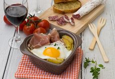 Spanish traditional dish fried eggs with serrano ham and potatoe Royalty Free Stock Photos