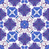 Spanish traditional ornament, Mediterranean seamless pattern, tile design, vector illustration. Royalty Free Stock Image