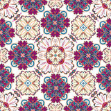 Spanish traditional ornament, Mediterranean seamless pattern, tile design, vector illustration. Royalty Free Stock Images