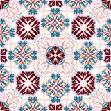 Spanish traditional ornament, Mediterranean seamless pattern, tile design, vector illustration. Stock Photo