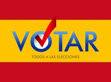 Spanish translation Vote. All on elections. layout Elections icons. Voting banner vector design. Spanish translation Vote. All on elections. layout Elections royalty free illustration