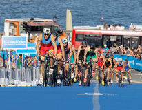 Spanish triathlon competitors cycling uphill Stock Images