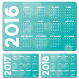 Spanish turquoise calendar. 2016 2017 2018 vector design, no drop shadow on the vector .eps 10 text is outlined Stock Illustration