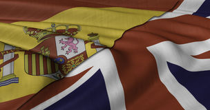 Spanish and UK flag. Fluttering in light wind Stock Photography