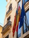 Spanish and Valencian Flags, Valencia Royalty Free Stock Photos