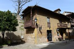 Spanish village - architectural Museum in Barcelona Royalty Free Stock Photos