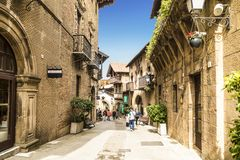 The Spanish village in Barcelona is an open-air Museum. Catalonia Stock Image