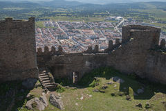 Spanish village behind the walls of the castle Royalty Free Stock Image