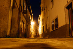 Spanish village at Christmas. At Christmas times.  night view of Cuacos de Yuste,Caceres, Spain, the village where the emperor Charles V died Royalty Free Stock Image