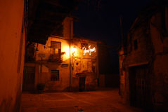 Spanish village at Christmas. At Christmas times.  night view of Cuacos de Yuste,Caceres, Spain, the village where the emperor Charles V died.We see lights that Royalty Free Stock Photography