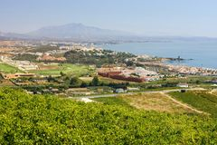 Spanish vineyards overlooking Duquesa Manilva through to Marbella and La Concha mountain. Manilva Sabanillas and duquesa are all up and coming areas on the royalty free stock photo