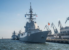 Spanish warship in a harbor. Spanisk destroyer ESPS Mendez Nunez during her visit after Northern Coasts 2016 NATO manoeuvres in Gdynia harbor, northern Poland stock photography